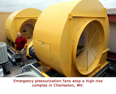 Emergency pressurization fans atop a high-rise complex in Charleston, WV.